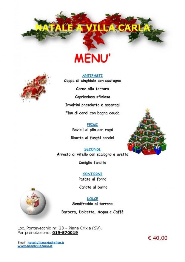 I Menu Di Natale.Menu Di Natale Hotel Ristorante Villa Carla Piana
